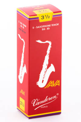 Java Red Tenor Sax Reeds 3 1/2 Strength - Box of 5