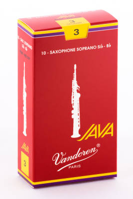 Java Red Soprano Sax Reeds 3 Strength - Box of 10