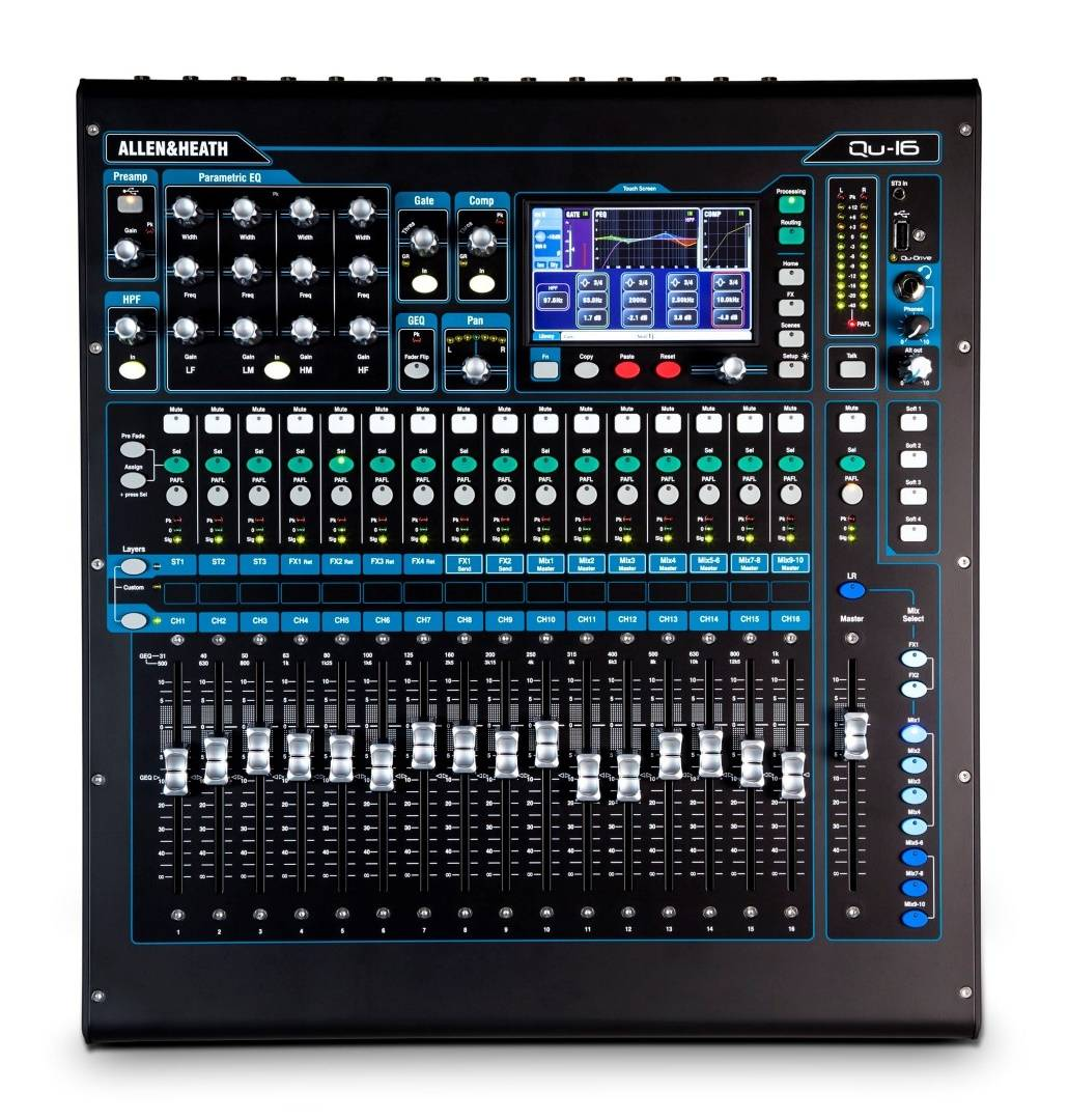 allen heath qu 16 16 channel digital mixing console long mcquade musical instruments. Black Bedroom Furniture Sets. Home Design Ideas
