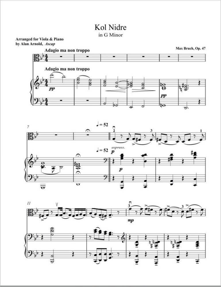 All Music Chords kol nidrei cello sheet music : Viola World Publications Kol Nidrei, Op.47 - Bruch/Arnold - Viola ...