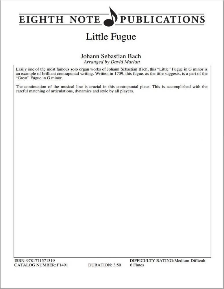Eighth Note Publications - Little Fugue - Bach/Marlatt - Flute Sextet