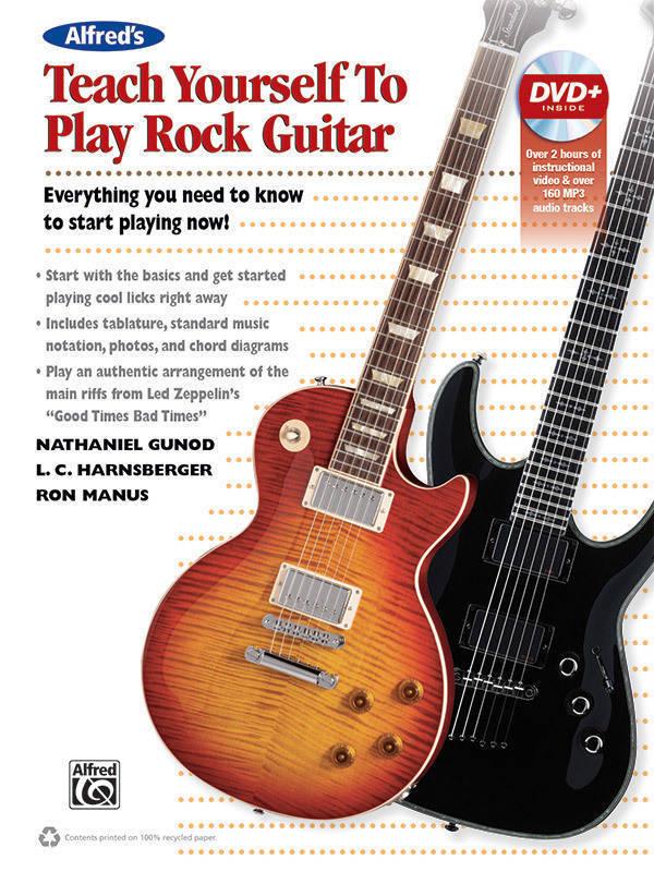 alfred publishing teach yourself to play rock guitar gunod harnsgerger manus guitar book. Black Bedroom Furniture Sets. Home Design Ideas