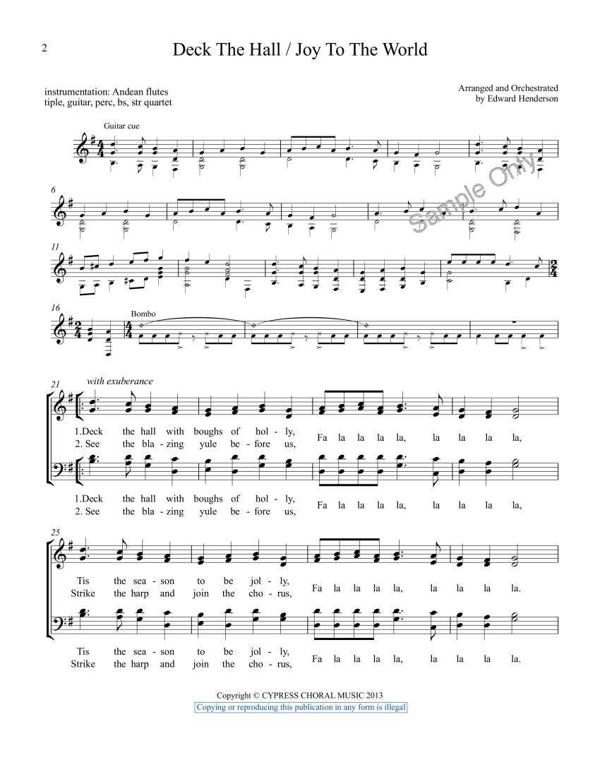 Deck the Hall - Joy to the World - Traditional/Henderson - SATB