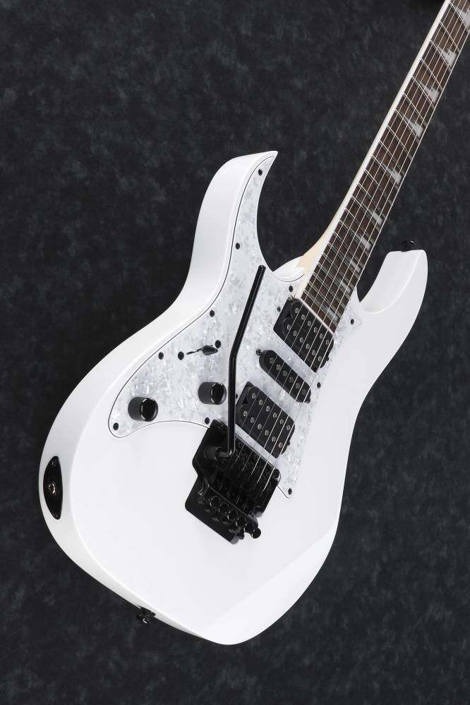 ibanez rg 6 string left handed hsh trem electric guitar white long mcquade musical instruments. Black Bedroom Furniture Sets. Home Design Ideas