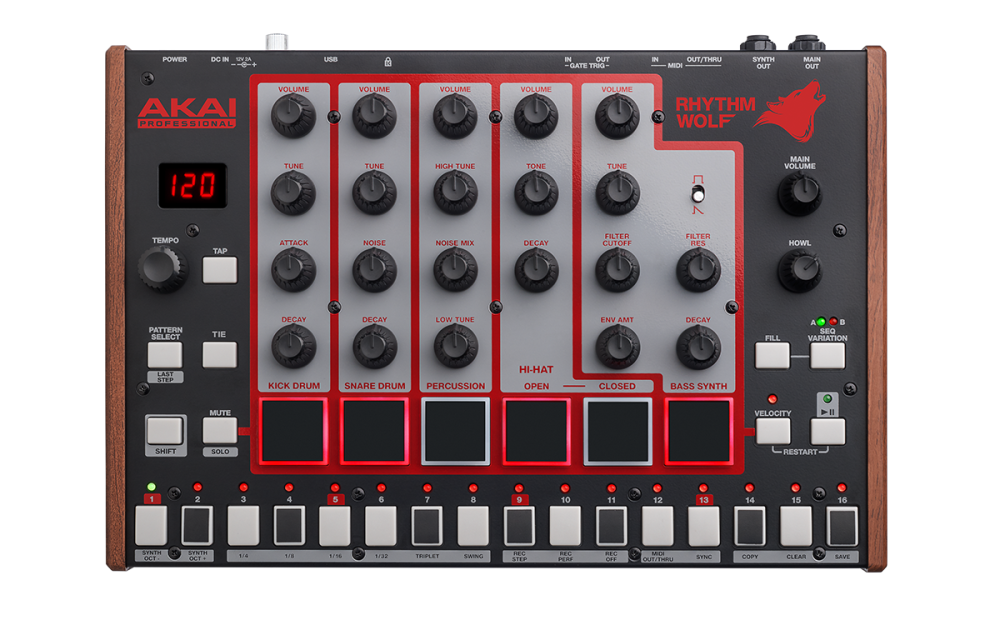 akai analog drum machine and bass synthesizer with 32 step sequencer long mcquade musical. Black Bedroom Furniture Sets. Home Design Ideas