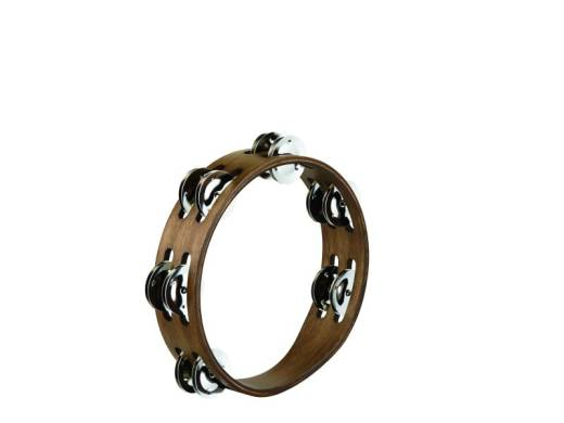 Compact 8 inch Wood Tambourine - 2 rows - Walnut Brown