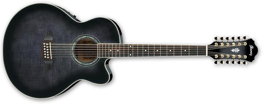 ibanez 12 string acoustic electric cutaway guitar trans black sunburst long mcquade. Black Bedroom Furniture Sets. Home Design Ideas
