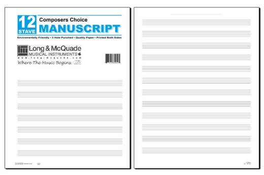Composers Choice Manuscript Paper: 12 Stave/3-Hole Punched - Pad