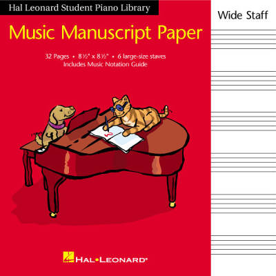 Student Piano Library Music Manuscript Paper - Wide Staff - 6 Stave - 32 Page