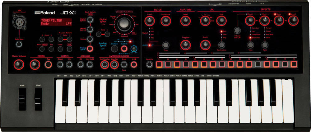 roland jd xi integrated analog digital crossover synthesizer long mcquade musical instruments. Black Bedroom Furniture Sets. Home Design Ideas