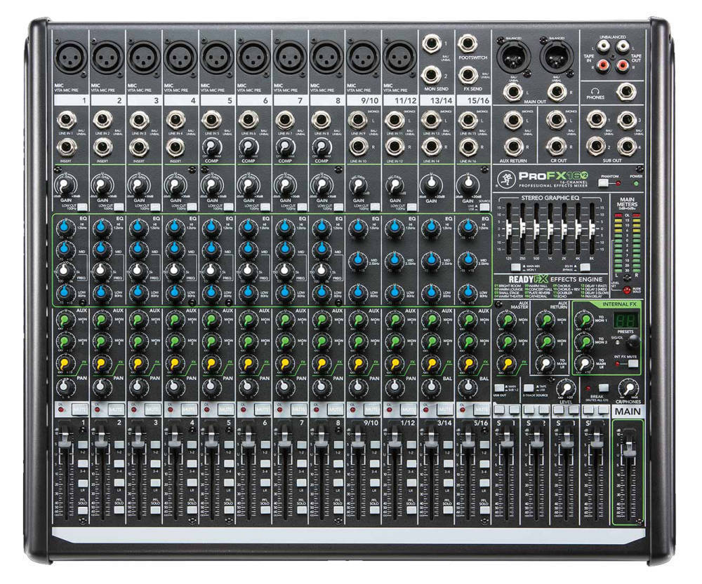 mackie 16 channel professional effects mixer with usb long mcquade musical instruments. Black Bedroom Furniture Sets. Home Design Ideas