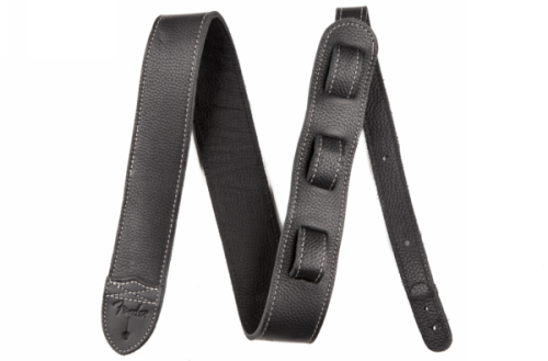 2-inch Custom HQ Leather Guitar Strap Black/Black