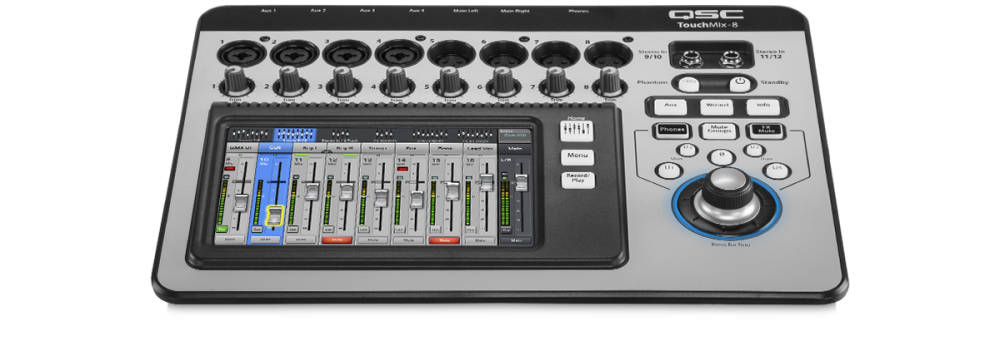 qsc touchmix 8 compact digital mixer with touchscreen long mcquade musical instruments. Black Bedroom Furniture Sets. Home Design Ideas