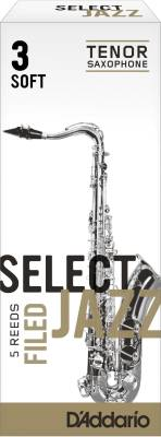 Select Jazz Tenor Sax Reeds, Filed, Strength 3 Strength Soft, 5-pack