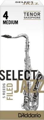 Select Jazz Tenor Sax Reeds, Filed, Strength 4 Strength Medium, 5-pack