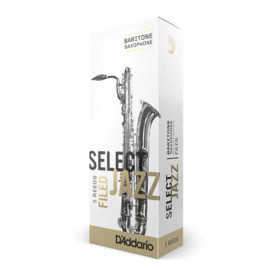 Select Jazz Baritone Sax Reeds, Filed, Strength 3 Strength Medium, 5-pack