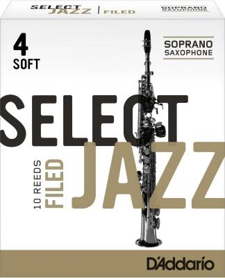 Select Jazz Soprano Sax Reeds, Filed, Strength 4 Strength Soft, 10-pack