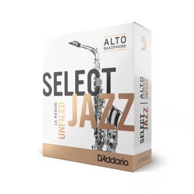 Select Jazz Alto Sax Reeds, Unfiled, Strength 3 Strength Soft, 10-pack