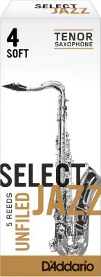 Select Jazz Tenor Sax Reeds, Unfiled, Strength 4 Strength Soft, 5-pack