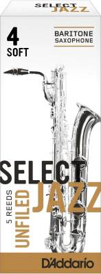 Select Jazz Baritone Sax Reeds, Unfiled, Strength 4 Strength Soft, 5-pack
