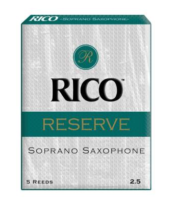 Rico Reserve Soprano Sax Reeds, Strength 2.5, 5-pack