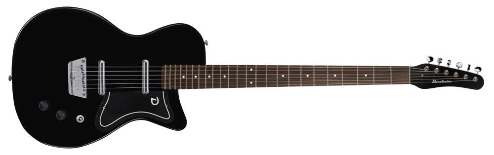 danelectro 56 baritone single cutaway electric guitar with dolphin headstock black long. Black Bedroom Furniture Sets. Home Design Ideas