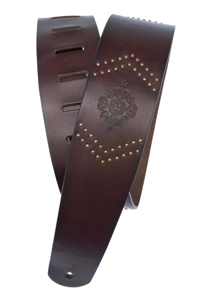 planet waves embossed studs leather guitar strap brown long mcquade musical instruments. Black Bedroom Furniture Sets. Home Design Ideas