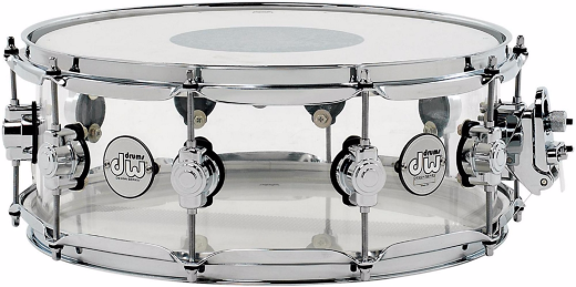 Design Series Acrylic 14x5.5 Inch Snare Drum w/ Chrome Hardware - Clear