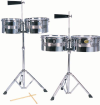 Mano Percussion - Timbale Set 13 & 14 Steel Shells with Cowbell and Stand