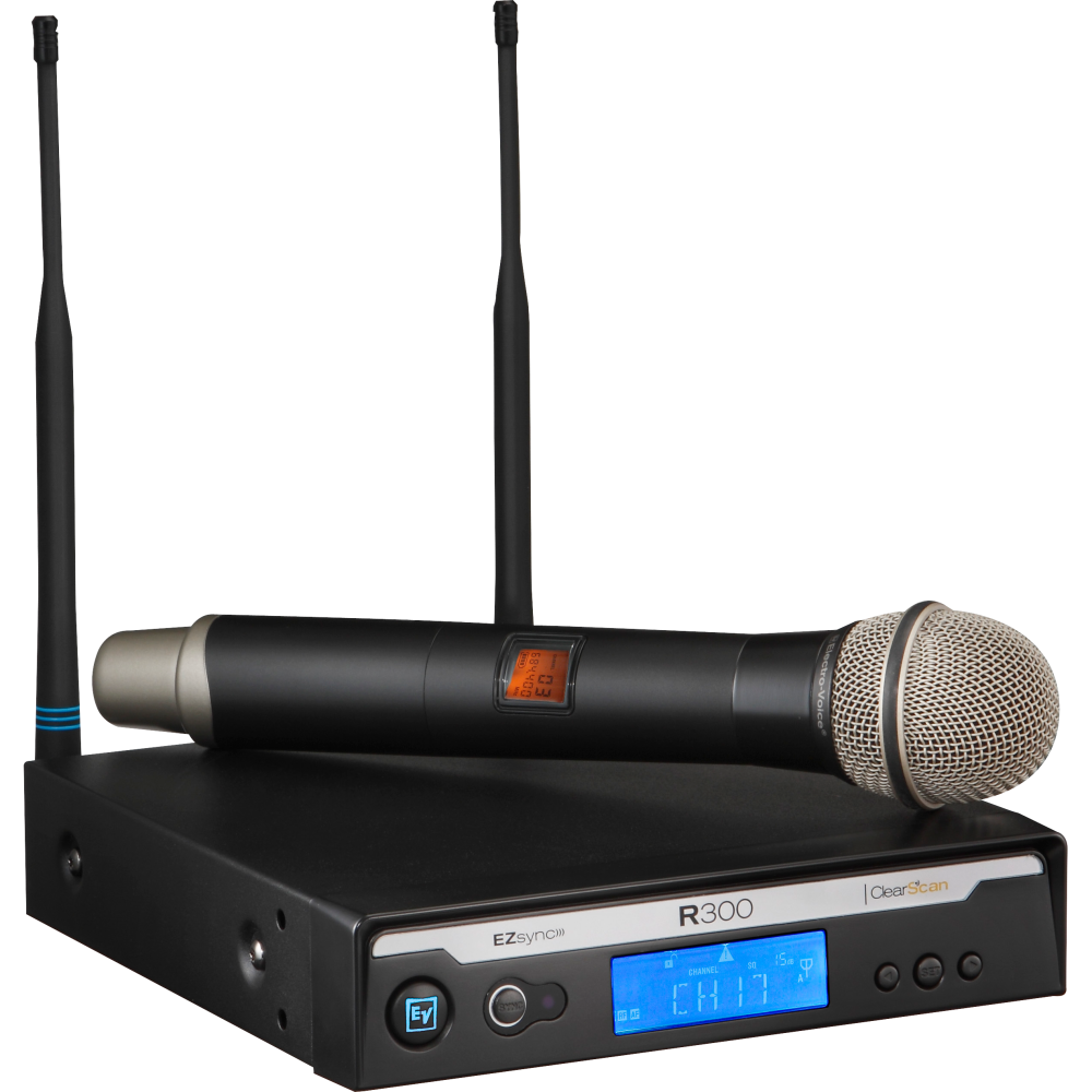 electro voice r300 hd wireless handheld microphone system w pl22 mic freq band a long