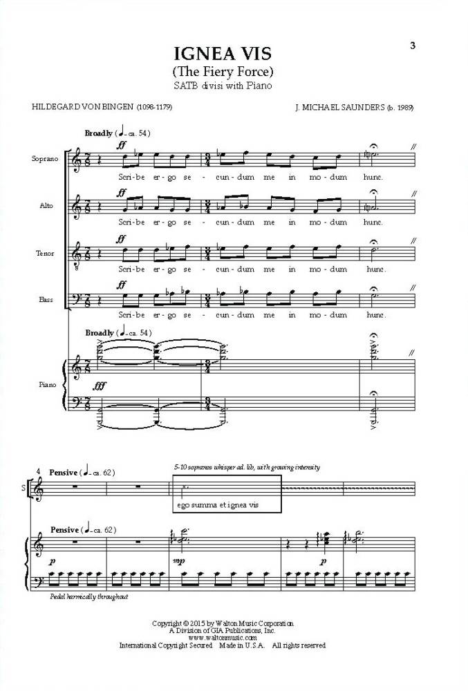 Walton Ignea Vis The Fiery Force Von Bingensaunders Satb