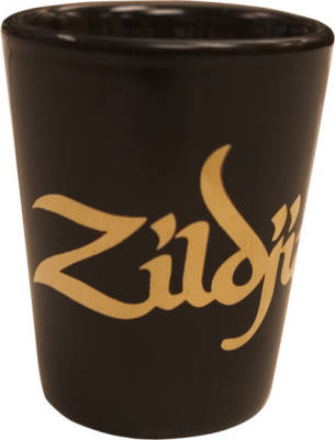Ceramic Shot Glass - Black with Gold Logo