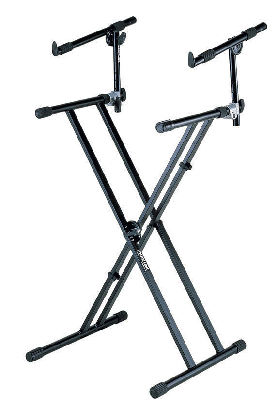 quiklok double brace keyboard stand with adjustable second tier long mcquade musical instruments. Black Bedroom Furniture Sets. Home Design Ideas