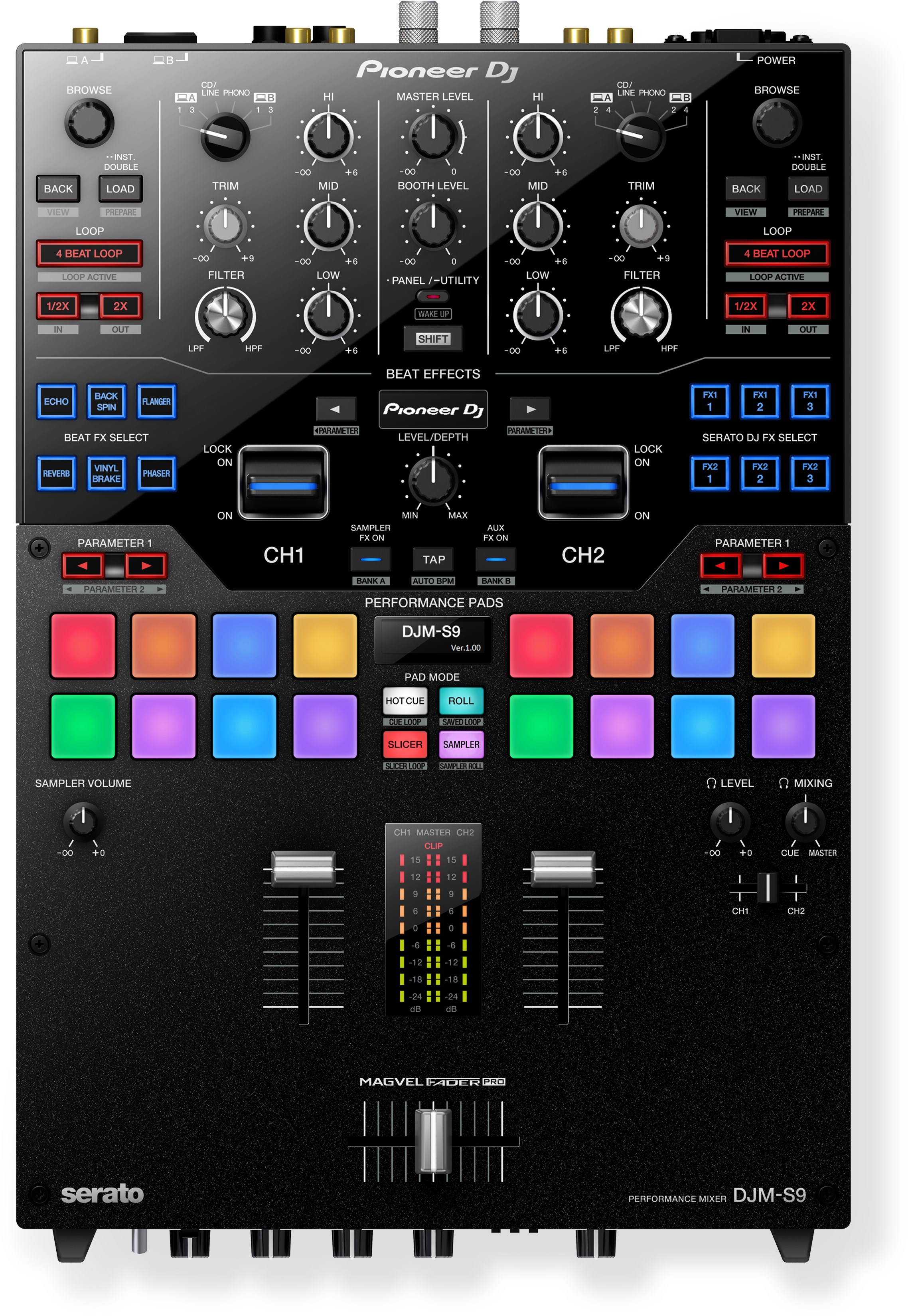 DJM-S9 Professional 2-Channel Mixer for Serato DJ - Black