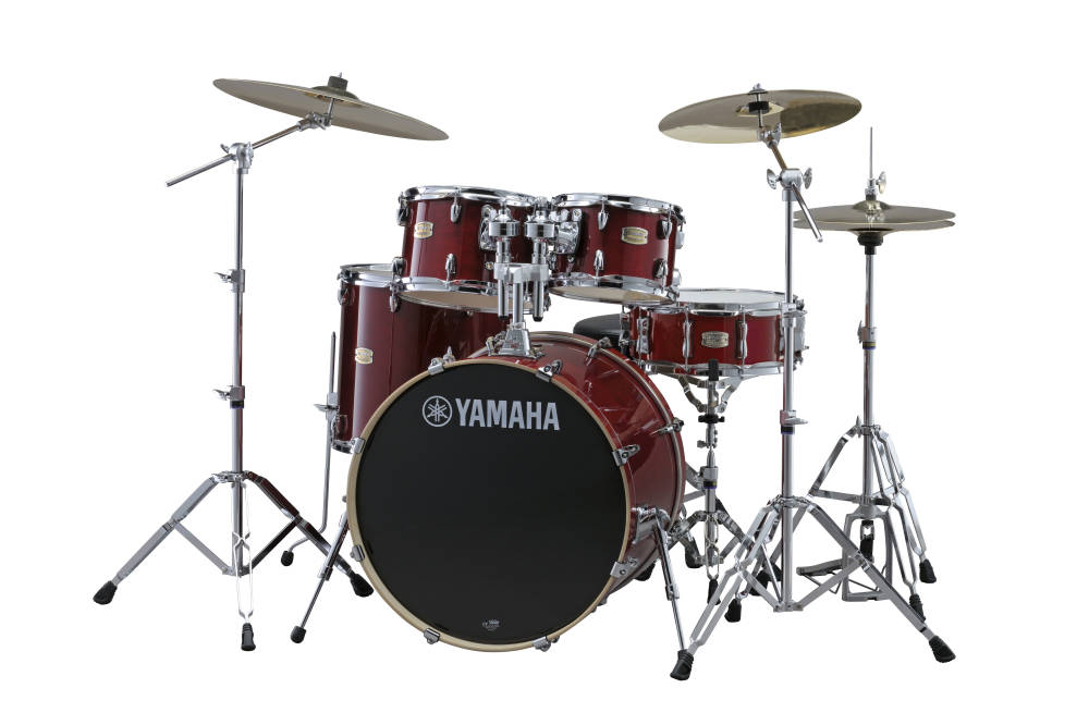 yamaha stage custom birch 6 pc drum set 10 12 14 16 sn 22 w hardware cranberry red long. Black Bedroom Furniture Sets. Home Design Ideas