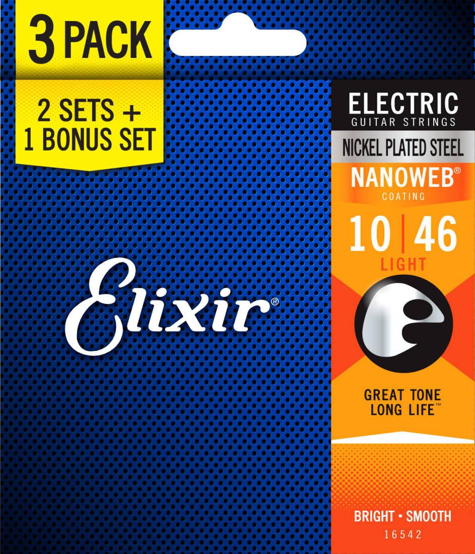 elixir strings light nanoweb electric guitar strings 10 46 3 pack long mcquade musical. Black Bedroom Furniture Sets. Home Design Ideas