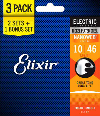 Light Nanoweb Electric Guitar Strings 10-46 - 3 Pack