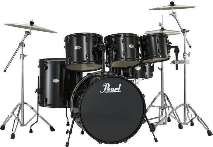 pearl forum 5 piece drum kit in 22 10 12 14 black black hardware long mcquade musical. Black Bedroom Furniture Sets. Home Design Ideas