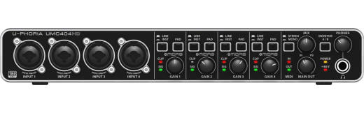 U-Phoria UMC404HD Audiophile 4x4, 24-Bit/192 kHz USB Audio/MIDI Interface
