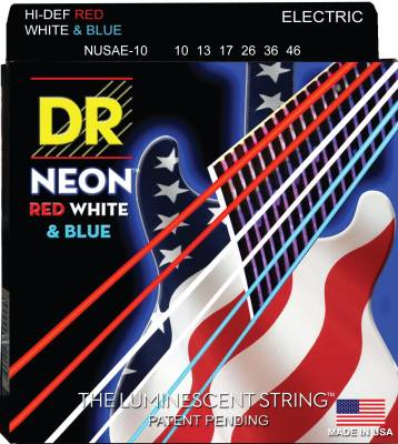 Coated Nickel Electric Guitar Strings, Medium, 10-46, NEON Hi-Def Red White & Blue