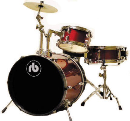 RB 3-Piece Junior Drum Kit with Cymbals, Hardware & Throne - Red