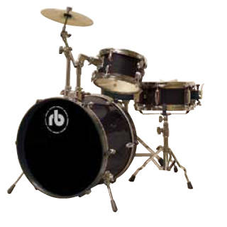RB 3-Piece Junior Drum Kit with Cymbals, Hardware & Throne - Black