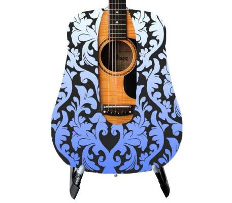 Blue Damask Guitar Skin
