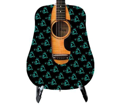 Teal Clef Heart Guitar Skin