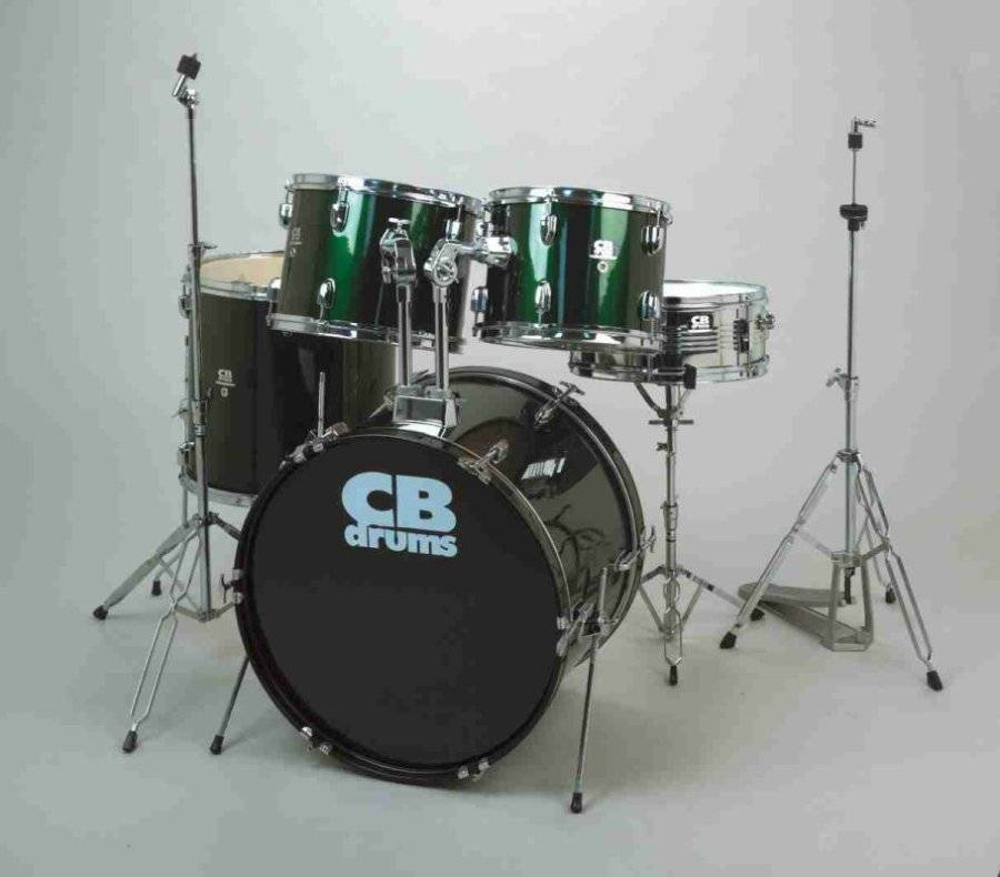 cb percussion 5 piece drum kit in with cymbals throne and hardware green long mcquade. Black Bedroom Furniture Sets. Home Design Ideas