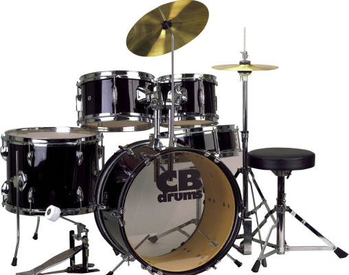 Junior 5 -Piece Drum Kit with Cymbals, Hardware & Throne - Black