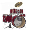 CB Percussion - Junior 5-Piece Drum Kit with Hi-Hat, Crash, Hardware & Throne - Red