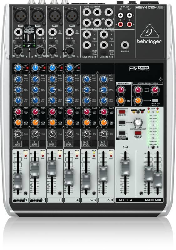 behringer q1204usb 12 input 2 2 bus mixer w compressor usb long mcquade musical instruments. Black Bedroom Furniture Sets. Home Design Ideas