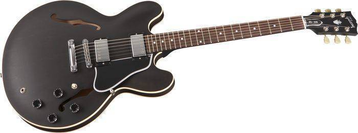gibson es 335 plain top semi hollow electric dot inlay satin trans black long mcquade. Black Bedroom Furniture Sets. Home Design Ideas