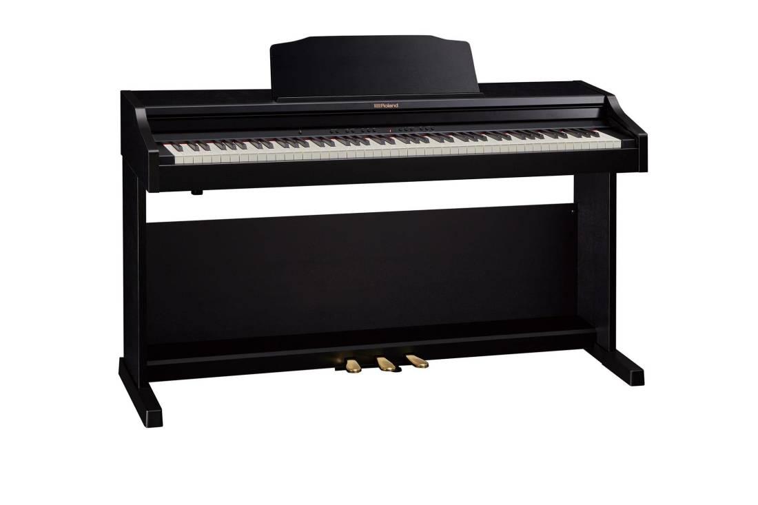 roland digital piano contemporary black long mcquade musical instruments. Black Bedroom Furniture Sets. Home Design Ideas